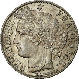 Coin, France, Cérès, Franc, 1871, Bordeaux, MS(63), Silver, KM:822.2