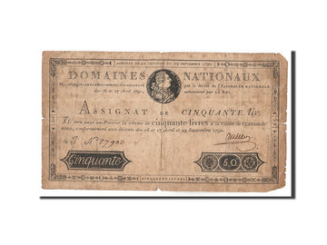 Banknote, France, 50 Livres, 1790, Millot, VF(20-25), KM:A34, Lafaurie:129