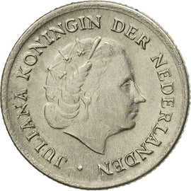 Coin, Netherlands, Juliana, 10 Cents, 1958, AU(50-53), Nickel, KM:182