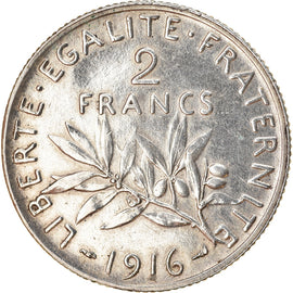 Coin, France, Semeuse, 2 Francs, 1916, Paris, EF(40-45), Silver, KM:845.1