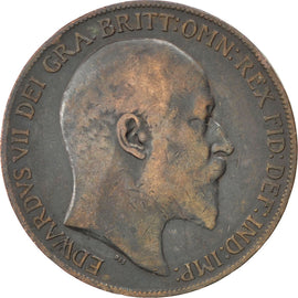 Coin, Great Britain, Edward VII, Penny, 1910, VF(20-25), Bronze, KM:794.2