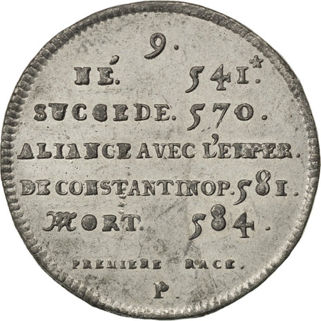 FRANCE, History, Chilpéric I, Medal, AU(50-53), Tin, 32, 7.85