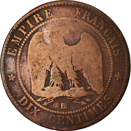 Coin, France, Napoleon III, 10 Centimes, 1865, Strasbourg, F(12-15), KM 798.2