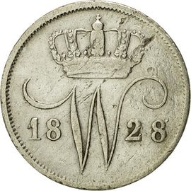 Coin, Netherlands, William I, 10 Cents, 1828, Brussels, AU(50-53), Silver, KM:53