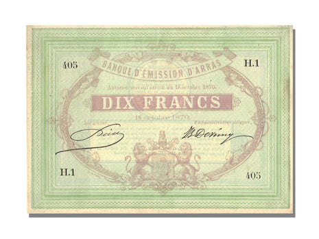 FRANCE, Arras, 10 Francs, 1870, 1870-10-18, UNC(65-70), H.1, Jérémie #62.02.C