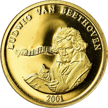 France, Medal, Beethoven, Arts & Culture, 2001, Proof, MS(65-70), Gold