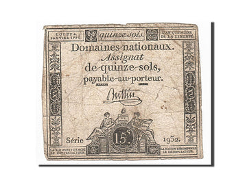 Banknote, France, 15 Sols, 1792, Buttin, 1792-01-04, VF(20-25), KM:A54