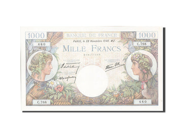 Banknote, France, 1000 Francs, 1 000 F 1940-1944 ''Commerce et Industrie''