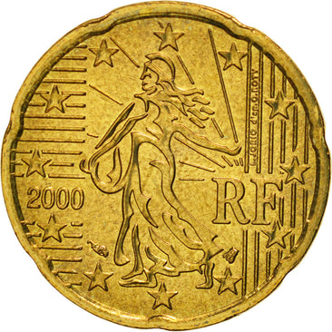 France, 20 Euro Cent, 2000, MS(65-70), Brass, KM:1286