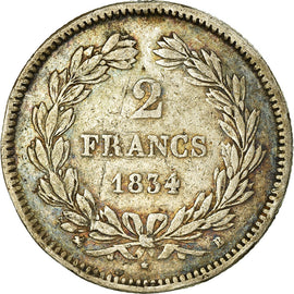 Coin, France, Louis-Philippe, 2 Francs, 1834, Rouen, VF(20-25), Silver