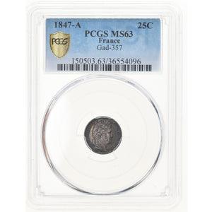 Coin, France, Louis-Philippe, 25 Centimes, 1847, Paris, PCGS, MS63, MS(63)
