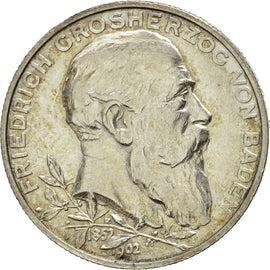 Coin, German States, BADEN, Friedrich I, 2 Mark, 1902, Karlsruhe, AU(50-53)