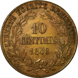 Coin, France, 10 Centimes, 1848, AU(55-58), Bronze, Gadoury:225