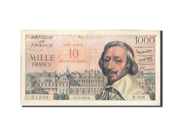 France, 10 Nouveaux Francs on 1000 Francs, 1955-1959 Overprinted with ''Nouve...