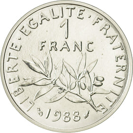 Coin, France, 1 Franc, 1988, MS(65-70), Silver, Gadoury:104.P2