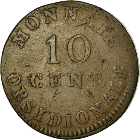 Coin, FRENCH STATES, ANTWERP, 10 Centimes, 1814, Antwerp, VF(30-35), Bronze