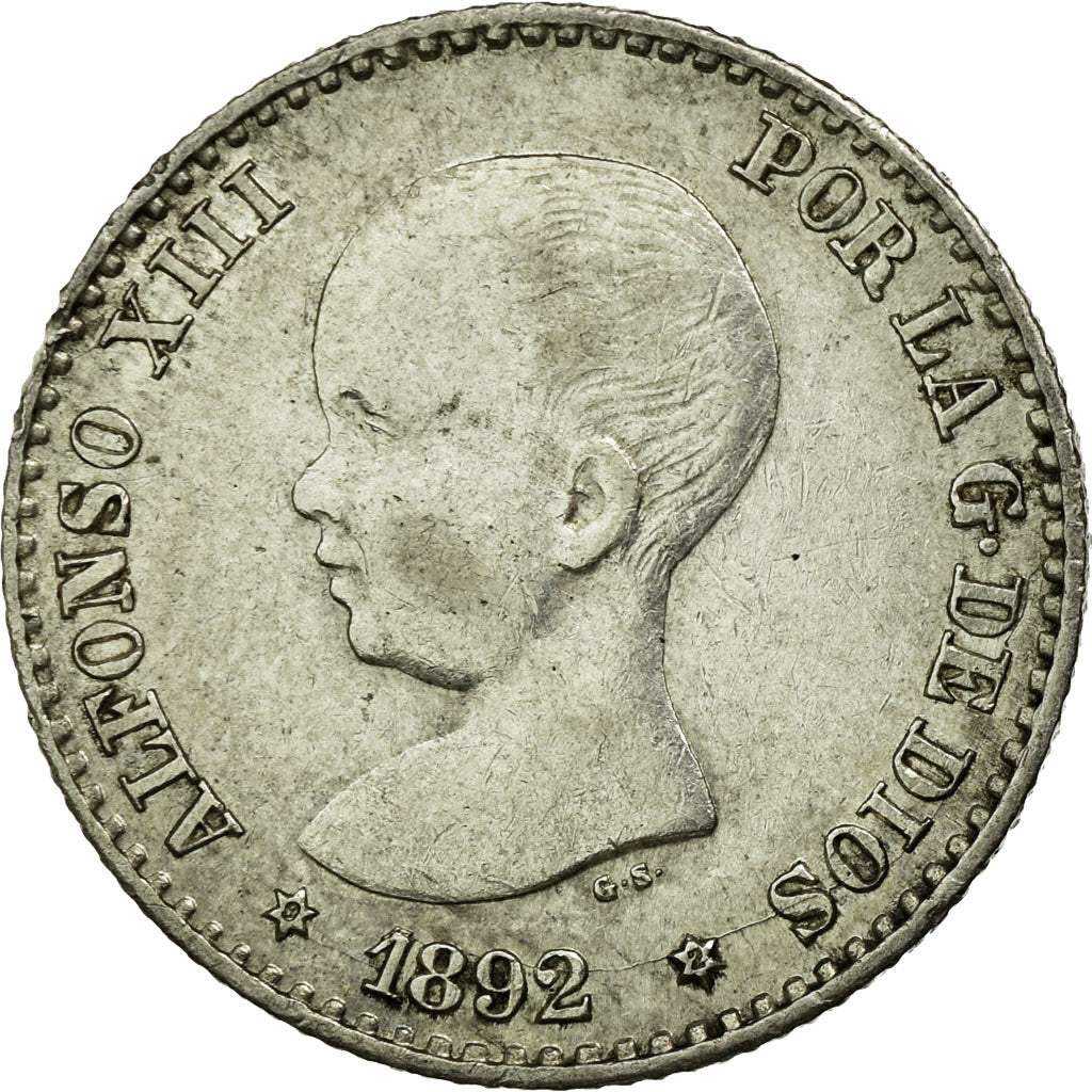 Coin, Spain, Alfonso XIII, 50 Centimos, 1892, Madrid, AU(55-58), Silver, KM:690