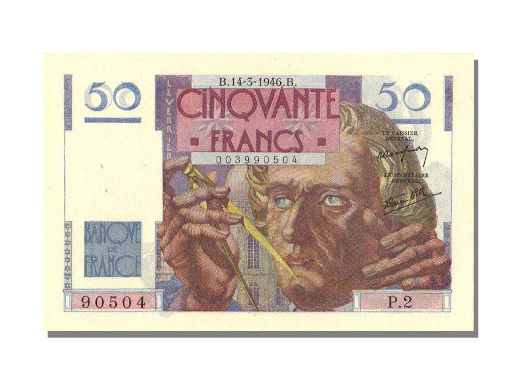 France, 50 Francs, 50 F 1946-1951 ''Le Verrier'', 1946, KM #127a, 1946-03-14,...