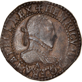 Coin, France, Henri III, Demi Franc, 1587, Paris, EF(40-45), Silver