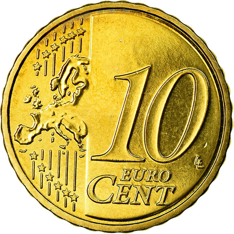 France, 10 Euro Cent, 2009, MS(63), Brass, KM:1410