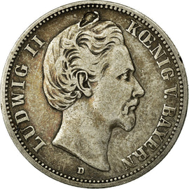 Coin, German States, BAVARIA, Ludwig II, 2 Mark, 1876, Munich, VF(30-35)
