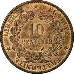 Coin, France, Cérès, 10 Centimes, 1888, Paris, AU(55-58), Bronze, KM:815.1
