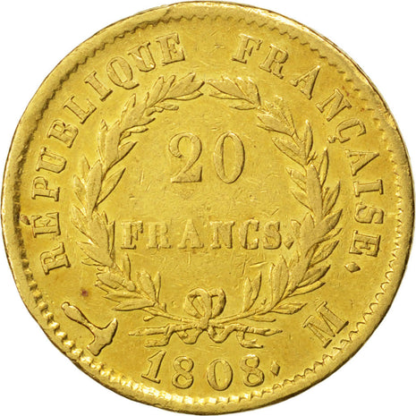 Coin, France, Napoléon I, 20 Francs, 1808, Toulouse, EF(40-45), Gold, KM:687.3