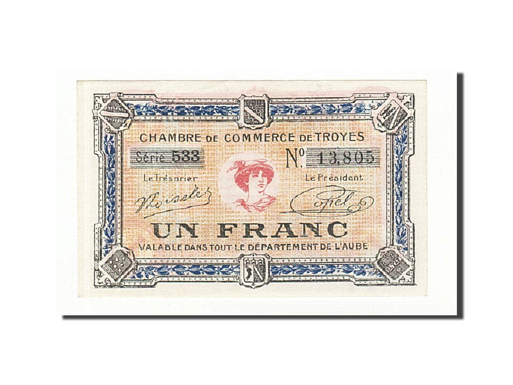 France, Troyes, 1 Franc, UNC(60-62), Pirot:124-14