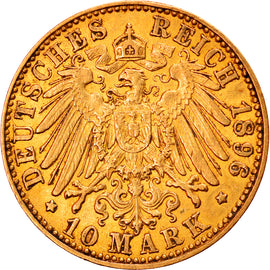Coin, German States, HAMBURG, 10 Mark, 1896, Hamburg, EF(40-45), Gold, KM:608