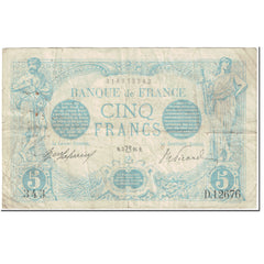 France, 5 Francs, Bleu, 1916, 1916-07-03, Lion Inversé, VF(20-25)