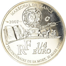France, 1/4 Euro, 2007, BE, MS(65-70), Silver, Gadoury:EU252, KM:1461