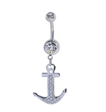 Fashion boat anchor shaped zircon belly button ring antiallergic Navel Belly Ring-0428-Gifts box