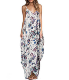 New summer sexy Women printing flowers V neck dress -0522