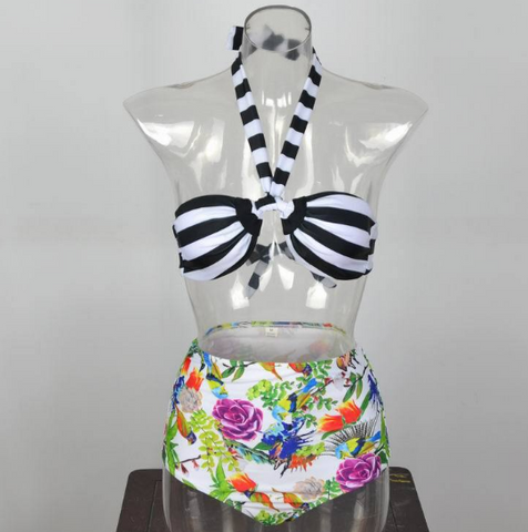 Summer fashion printing flowers and stripe bikini Sexy Women swimwear Bath Swimwear -0519