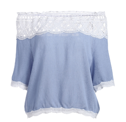 New summer sexy Women lace hollow out off shoulder T-shirt -0522