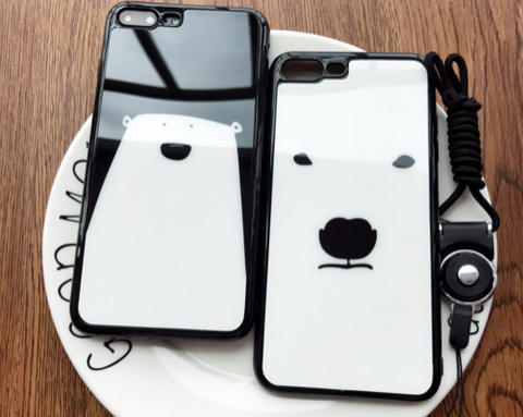 Creative white bear printing Silicone Case Cover for Apple iPhone 7 7Plus 6 Plus 6 -05012