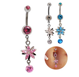 Fashion lovely flower zircon belly button ring antiallergic Navel Belly Ring-0428-Gifts box
