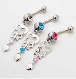 Lovely sweet heart and bowknot belly button ring antiallergic Navel Belly Ring-0428-Gifts box