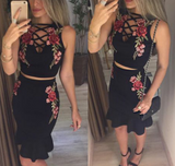 New summer sexy Women hollow out embroidery two piece Skinny Dress-0523