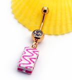 Lovely Square cake belly button ring antiallergic Navel Belly Ring-0428-Gifts box