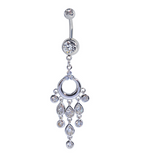 Lovely annulus shape wate drop tassels zircon belly button ring antiallergic Navel Belly Ring-0428-Gifts box