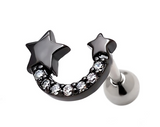Fashion lovely double star zircon earrings Stainless steel antiallergic tragus Earring body jewelry -0427-Gifts box