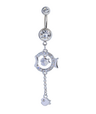 Lovely double fish zircon belly button ring antiallergic Navel Belly Ring-0428-Gifts box