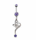 Fashion Iris japonica zircon belly button ring antiallergic Navel Belly Ring-0429-Gifts box