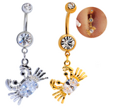 Fashion crab shaped zircon belly button ring antiallergicNavel Belly Ring-0427-Gifts box