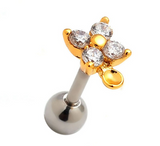 Fashion flower zircon Stainless steel earrings antiallergic tragus Earring-0427-Gifts box