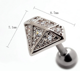 Fashion diamond-shaped zircon earrings Stainless steel antiallergic tragus Earring-0427-Gifts box