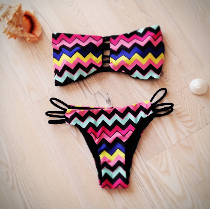 Summer new fashion bikini two-piece swimsuit Sexy Geometric stripe bandeau Women swimwear Bath Swimwear -0518