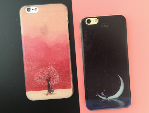 Creative cherry tree Black moonlit printing TPU Case Cover for Apple iPhone 7 7Plus 6 Plus 6 -0513