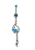 Fashion garland tassels  zircon belly button ring antiallergic Navel Belly Ring-0428-Gifts box